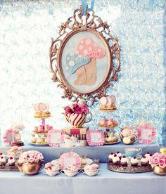 Alice in Wonderland tea party dessert table