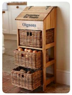 Creative Beginners Friendly Woodworking DIY Plans At Your Fingertips With Projec. Creative Beginners Friendly Woodworking DIY Plans At Your Fingertips With Project Ideas, Tips and T Diy Kitchen Storage, Kitchen Pantry, Kitchen Ideas, Decorating Kitchen, Wood Storage, Baskets For Storage, Kitchen Vegetable Storage, Kitchen Bins, Vegetable Drawer