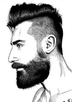 Tinta negra 1 Drawing People Faces, Beard Art, Barbershop Design, Drawings Of Friends, Face Sketch, Art Of Man, Art Case, Gay Art, Hair And Beard Styles