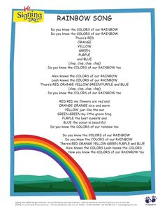 Rainbow Song lyrics.  I know some of these things aren't even proper lesson plans, and I apologize for that if it's more distracting than useful.  But perfectionistcrastinator likes her options abundant and I'm wanting to provide fertile soil for you to grow some good lessons.