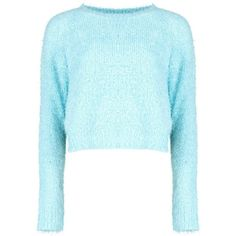 Rose Fluffy Crop Jumper ❤ liked on Polyvore featuring tops, sweaters, jumper top, cropped jumper, blue jumper, rose tops and blue crop top