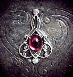 Elven Dream Bindi, gypsy, tribal fusion, silver filigree, art nouveau, third eye, purple, sparkly, skin gem, fantasy, fairy, fae, wicca