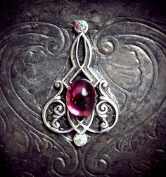 Elven Dream Bindi, gypsy, tribal fusion, silver filigree, art nouveau, third eye, purple, sparkly, skin gem, fantasy, fairy, fae, wicca