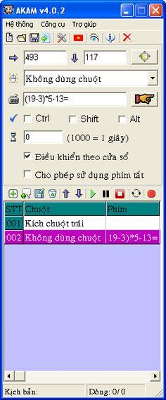 Giới thiệu :Autoclick AKAM là chương trình tự động click chuột và phím theo khoảng thời gian định sẵn. Chương trình giúp tạo kịch bản gồm danh sách các sự kiện chuột và phím sau đó thực thi tuần tự từ trên xuống. AKAM hoàn toàn không chiếm chuột, bạn vẫn có thể làm việc trong khi AKAM đang thực thi danh sách các sự kiện chuột và phím.   Bạn muốn máy tính sử dụng chuột và bàn phím tự động theo ý mình thì AKAM sẽ giúp bạn tạo một số scripts làm tụ động khi không có bạn.   AKAM có thể giú