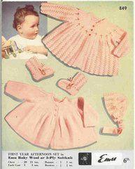 Emu 849 baby matinee coats ORIGINAL vintage knitting pattern