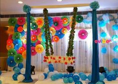 ideas baby names indian birthday parties, Birthday Balloon Decorations, Ceremony Decorations, Flower Decorations, Janamashtami Decoration Ideas, Indian Birthday Parties, Birthday Ideas, Baby Names Flowers, Cradle Decoration, Naming Ceremony Decoration