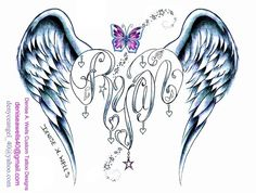 A beautiful name design made into a heart shape including angel wings. I might do this for a memoral tattoo