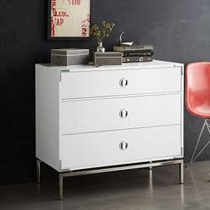 """Malone Campaign 3-Drawer Dresser - White  -- 32""""h x 36""""w x 18""""d  -- White lacquer finish  chest w/ Polished Nickel metal hardware -- $799"""