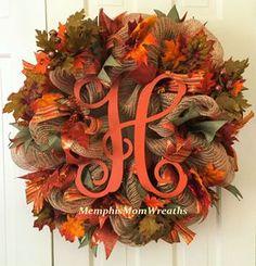 Fall Wreath, Burlap Wreath, Initial Wreath, Monogram Wreath Fall Decor, Front Do… - Burlap Mesh Ribbon Wreaths, Fall Mesh Wreaths, Fall Deco Mesh, Deco Mesh Wreaths, Holiday Wreaths, Wreath Fall, Green Wreath, Initial Door Hanger, Initial Wreath
