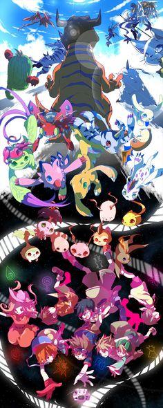 Digimon Adventure. The art is beautiful. & Gatomon in the top right :o She's cuute.!
