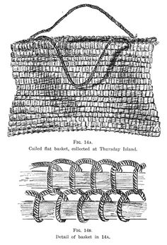 Coiling technique- Journal of the Polynesian Society: Australian Netting And Basketry Techniques, By D. Davidson, P Flax Weaving, Willow Weaving, Weaving Textiles, Weaving Patterns, Basket Weaving, Crochet Patterns, Textiles Techniques, Weaving Techniques, Weaving Projects