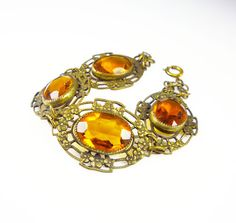 Art Deco Bracelet Amber Glass Gilt Floral by zephyrvintage on Etsy, $65.00