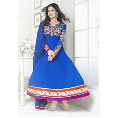Blue color faux Georgette designer embroidered semi stitched anarkali suit. Crafted with work of lace, multi, patch work, resham. Its top length is 48 inch, with contrast dupatta. It can stitched up to size 42. Sleeve can stitched up to size 22 inch