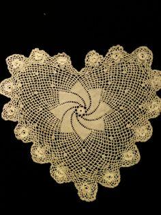 Doily heart shape crocheted by artcreatives on Etsy, $10.00