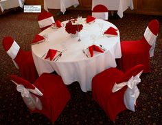 "Swiss Park Banquet Center Example of ""Package C"" in red and white. Flowers provided by Flowers by Lorena, Chino CA Banquet, Tree Skirts, White Flowers, Red And White, Packaging, Christmas Tree, Park, Holiday Decor, Home Decor"