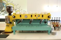 La Marzocco with a grinder in same design. Too much appetite colors. Coffee Art, Coffee Geek, Espresso Coffee, Coffee Machine Design, Coffe Machine, Espresso Machine, Latte Art, My Coffee Shop, Coffee Maker