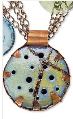 Enameled Copper Pendant tutorial with interesting setting.