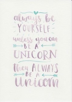 Unicorn Quote, Purple Mint Nursery Art, Watercolor Painting, Purple Mint Kids Room, Nursery Print, Kids Room Decor, Be Yourself Quote by violetandalfie on Etsy