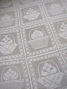 Cama-De-Croche-Vintage-Frances-Capa-Colcha-tipo-coverlet-Branco-malha-textil-Feito-A-Mao