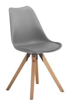 Fryd Spisestuestol - Grå - Populær skall stol i grå. Stolen passer perfekt inn i det skandinaviske hjem. Lekre egebeisede ben i gummitre og en bløt setepute, som gjør stolen lekker å sitte på. Samtidlig gir stoleryggens form en god komfort.
