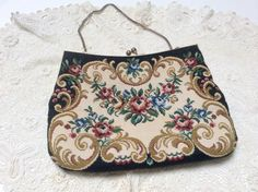 Vintage Tapestry Evening Bag, Rose Swags with Scrolls, Elegant and Beautiful, Excellent Condition, 1960s