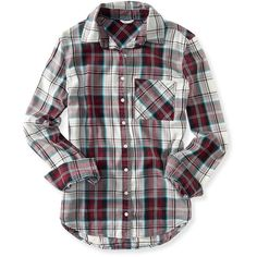 Aeropostale Long Sleeve Plaid Woven Shirt (30 CAD) ❤ liked on Polyvore featuring tops, shirts, long sleeves, red dare, woven shirts, long sleeve cotton shirts, red long sleeve shirt, long sleeve shirts and long sleeve tops