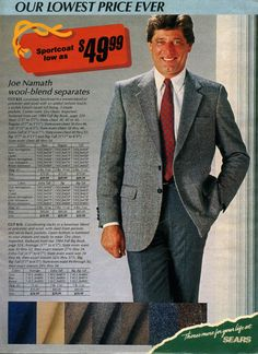 Walker - You know you want a Joe Namath Sportcoat From a 1988 catalog. 1980s Mens Fashion, 1980s Pop Culture, 80s Costume, Costumes, Joe Namath, Valley Girls, English Men, Color Shorts, Mens Suits