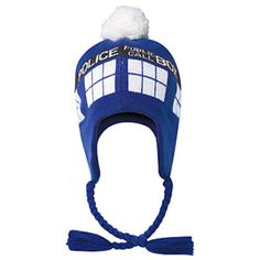 BBC Doctor Who Tardis Blue Pom Beanie Laplander Teen Adult Hat Licensed New