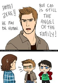 Don't forget to visit www.ProfoundBondage.com for much much more Destiel action.  The angel of the family by Tsuki-Nekota on deviantART