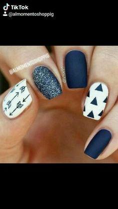 Navy Nail Art, Navy Blue Nails, Pink Nails, Glitter Nails, Red Nail, Blue And White Nails, Blue Matte Nails, Blue Gel, White Glitter
