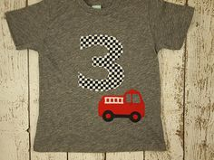 New lil threadz design posted! Fire Truck Birthday fire truck shirt fireman party fire truck party dalmation Boys Birthday Shirt  truck shirt firetruck party by lilthreadzclothing