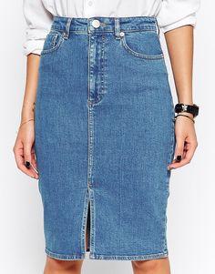 Изображение 3 из Синяя джинсовая юбка‑карандаш миди с разрезом спереди ASOS