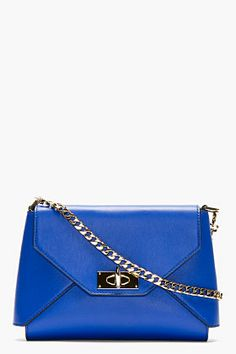 GIVENCHY Royal blue leather Shark lock Envelope shoulder bag