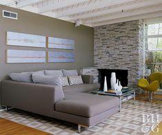 modern living room Fireplace Redo, Limestone Fireplace, Fireplace Remodel, Brick Fireplace, Fireplace Design, Fireplace Makeovers, Fireplace Ideas, Farmhouse Fireplace, Fireplace Tools