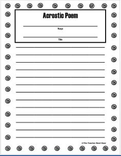 This handout can be found in The Teacher Next Door's Poetry Packet. A total of 21 different poetry types are included. Student writing pages, detailed directions for each poetry form and original examples for each are part of this complete packet.
