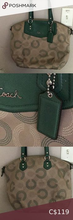 Green and Tan Coach Tote 100 % Authentic Green with Tan Signature Coach Tote In Excellent Condition 9/10 Very nice  Very Green Coach Bags Totes Coach Clutch, Coach Tote Bags, Michael Kors Designer, Michael Kors Tote, Shopper Tote, Large Tote, Hobo Bag, Womens Tote Bags, Leather Purses