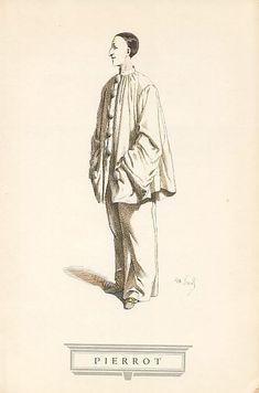 Pierrot: Personaje popular del teatro francés que se caracteriza por llevar un traje blanco muy amplio y con grandes botones. Descendiente francés del Pedrolino italiano.