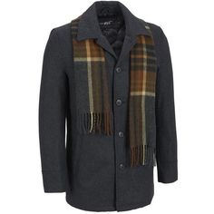 Big Tall Black Rivet Single Breasted Wool Scarf Coat (3 230 UAH) found on Polyvore featuring men's fashion, men's clothing, men's outerwear, men's coats, big tall mens wool coats, mens plaid sport coat, mens slim fit pea coat, mens slim fit coat and mens plaid wool coat