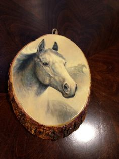 Rustic Horse decoupage on wood slab wall art by happykristen