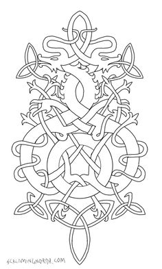 Twisted Wyrms by TheScreamingNorth on deviantART - would make lovely embroidery. Please ask permission before using. Artist has lots of other lovely norse designs. Norse Tattoo, Viking Tattoos, Armor Tattoo, Warrior Tattoos, Viking Designs, Celtic Designs, Costume Viking, Embroidery Patterns, Quilt Patterns