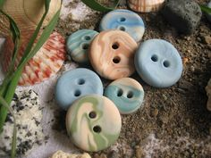 Ocean- polymer clay buttons