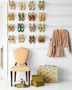 If you have the wall room and nice shoes this is lovely. Display your shoe collection like a work of art and keep the floor clear. To do this: Line the walls of your closet or with picture-rail molding. Buy preprimed pieces, and have them cut to length at the store. Paint before installing, either the color of the wall or a bold accent shade. Space the rails a foot apart, and attach them to the wall with construction adhesive. Hammer finishing nails every 18 inches (you don't have to hit studs), countersink nails, spackle, and touch up with paint.