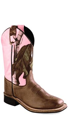 Old West Pink Camo Childrens Girls Carona Leather Sq Toe Cowboy Boots
