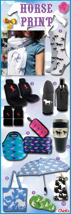 These fun NEW horse print items would make great, affordable gifts for the horse lovers in your life! #EquestrianGifts