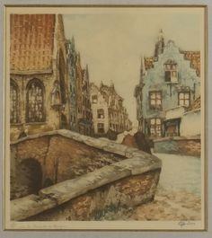 Eau-forte - Vers la chapelle à Bruges - de CODRON Jef (1882-?)