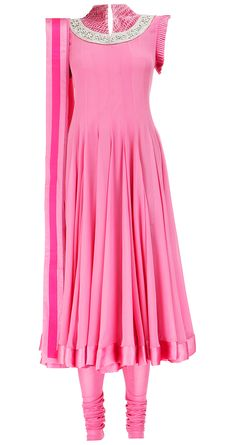 Rose pink anarkali by VARUN