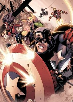 Avengers by Jonboy Meyers All Marvel Characters, Comic Book Characters, Comic Books Art, Comic Art, Marvel X, American Comics, Marvel Universe, Captain America, Wolverine