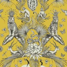 This Menagerie Animal Wallpaper features detailed tropical birds, foliage and exotic animals in tones of grey, black and white on a mustard yellow background Monkey Wallpaper, Tier Wallpaper, Animal Print Wallpaper, Luxury Wallpaper, Pattern Wallpaper, Wallpaper Jungle, Wallpaper Designs, Bedroom Wallpaper, Tropical Decor
