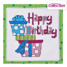 Birthday Presents Cross Stitch Kit: Emma Congdon's bold card is such fun to stitch on aida or evenweave, and the kit comes with enough materials to stitch four cards for just £12.99!