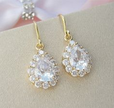 Gold Crystal Teardrop Earrings Gold Bridal by CherryHillsBridal, $41.00